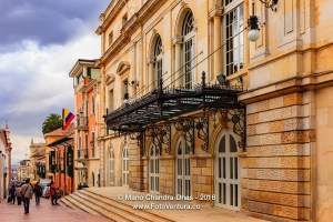 Bogota, Colombia: Calle 10 and Teatro Colón on overcast day