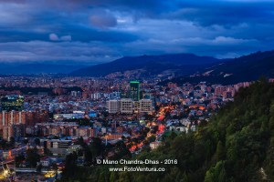 Bogota, Colombia: Panoramic twilight view of Usaquen from La Calera