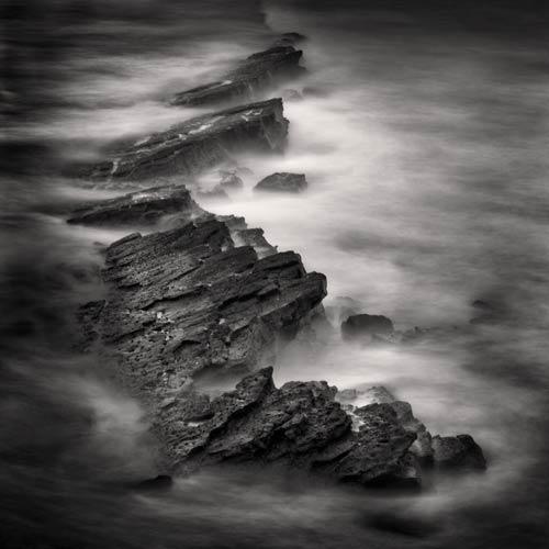 black and white seascape print