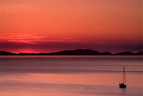 sunset boating canvas art