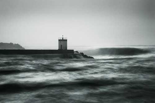 Brewing Storm lighthouse art