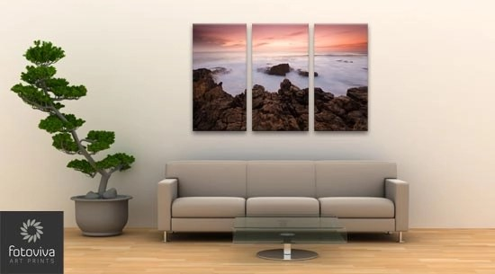 triptych canvas hanging over sofa in lounge