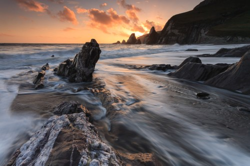 Spectacular coastal scenery at Westcombe, Canon 5D, 17-40mm at 17mm, ISO 50, 0.4 sec at f/22. April. © Adam Burton