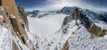 A stitched panorama of seven vertical shots from the Arete des Cosmiques, Mont Blanc. Canon 5D MkIII, Canon EF 17-40mm f/4L USM Lens, ISO 100, 1/320 sec at f/13. October © Stuart Holmes