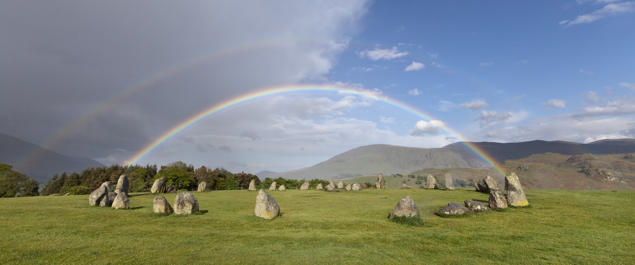Just after a heavy shower, rainbow at Castlerigg Stone Circle, Keswick