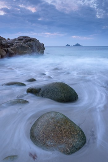 Porth Nanven beach at twilight, St Just, Cornwall, England. Autumn (October) 2013. © Adam Burton