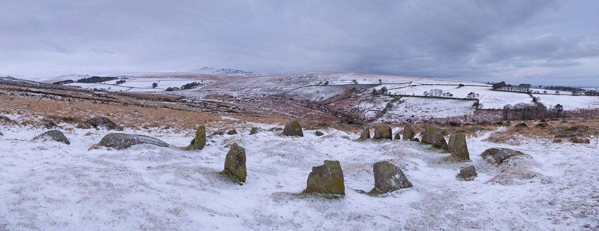 Megalthic stone circle, The Nine Maidens, on a snow covered Belstone Common, Dartmoor, Devon, England. Winter (January) 2015. © Adam Burton