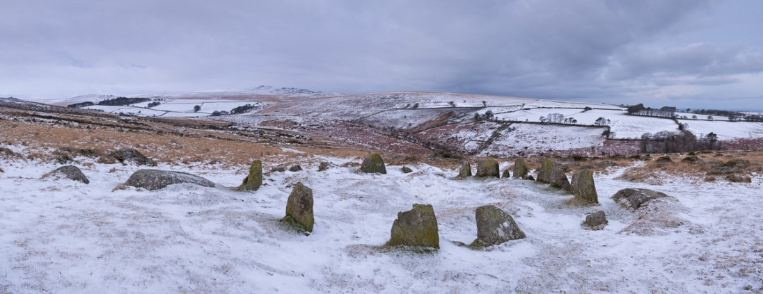 Megalthic stone circle, The Nine Maidens, on a snow covered Belstone Common, Dartmoor, Devon, England. Winter (January) 2015. © Adam Burton