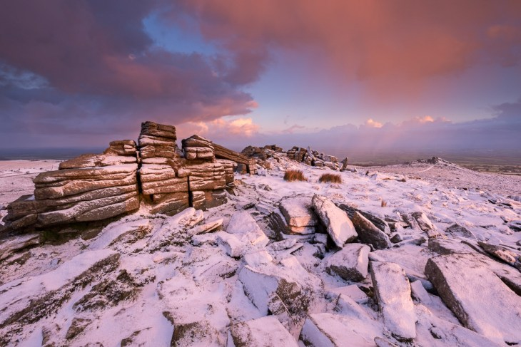 Snow dusted Belstone Tor at dawn, Dartmoor National Park, Devon, England. Winter (January) 2016. © Adam Burton