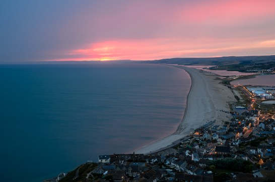 The view over Chesil Bank from Portland Heights at dusk. Nikon Df, 24-120mm at 82mm, ISO 200, 2.5 seconds at f/11 © Mark Bauer