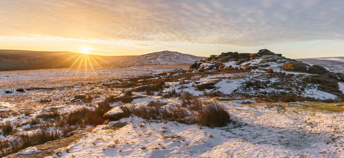 Amber Glaze, Oke Tor, Dartmoor. Sony A7R MK II, Canon EF 16-35 f4 at 16mm (panorama), ISO100, 1/160s at f/11, Tripod. January. © Richard Fox.