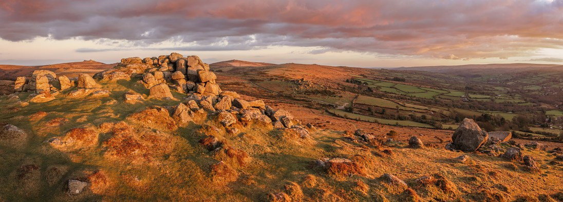 Bell Flambé, Bell Tor, Dartmoor. Sony A7R Mark II, Canon 16-35 f4 at 24mm (pano), ISO100, 1/5sec, f13, Tripod, March. © Richard Fox.