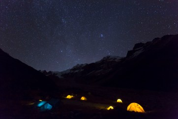 The 5000 star hotel at Base Camp, 4900m. Canon 5D MkIII, 17-40mm at 17mm, ISO 4000, 30 sec at f/4.5, tripod. © Stuart Holmes.