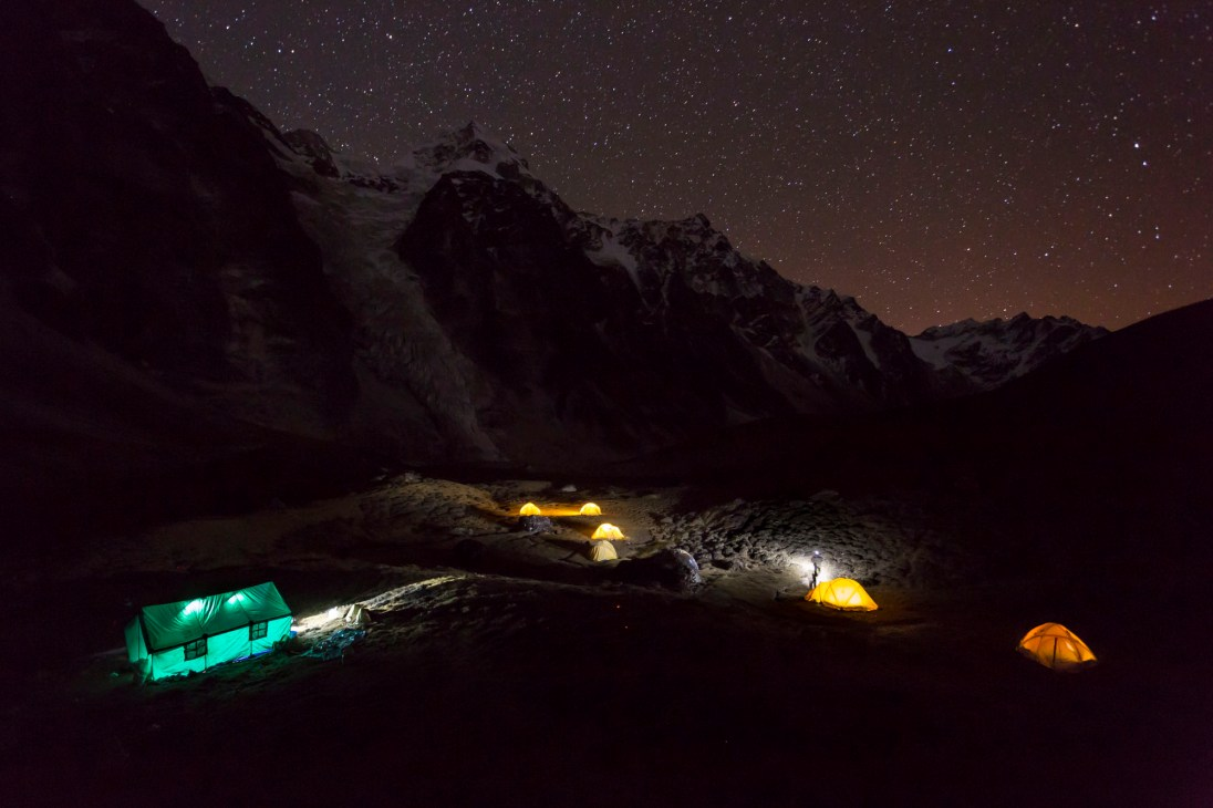 Night shot of our camp whilst crossing the passes. Canon 5D MkIII, 17-40mm at 17mm, ISO 3200, 30 sec at f/4, camera on rock. © Stuart Holmes.