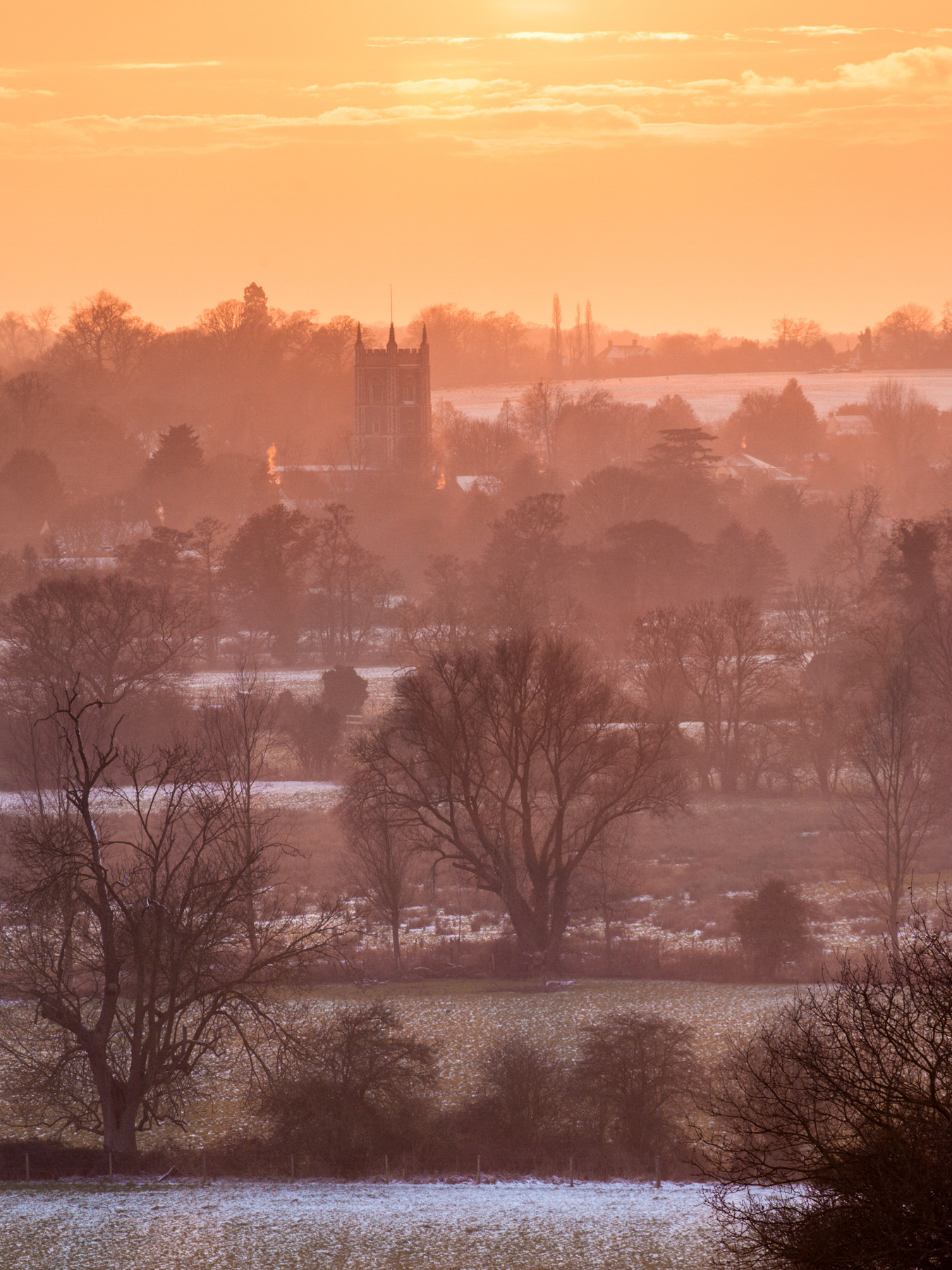 The view across the Stour valley to Dedham church. Canon 5D MkII,Canon 70-200mm f/4 at 163mm, ISO 100, 1/20s at f/11, tripod. © Justin Minns