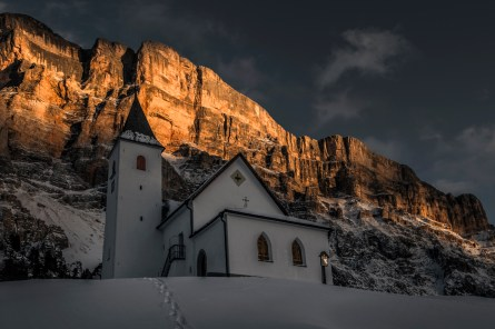 Last light on the face of Santa Croce at Sasso dla Crusc. Nikon D810, 16-35mm at 35mm, ISO 100, 1/80s at f/8. February. © James Rushforth.