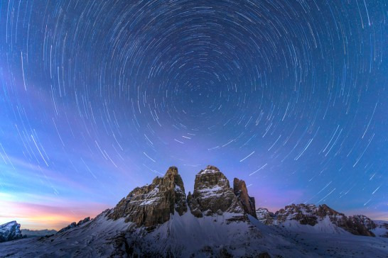 The world keeps spinning, Tre Cime south faces. Nikon D610, 14-24mm at 14mm, ISO 400, 30s at f/2.8, tripod, 80 images stacked. January. © James Rushforth.