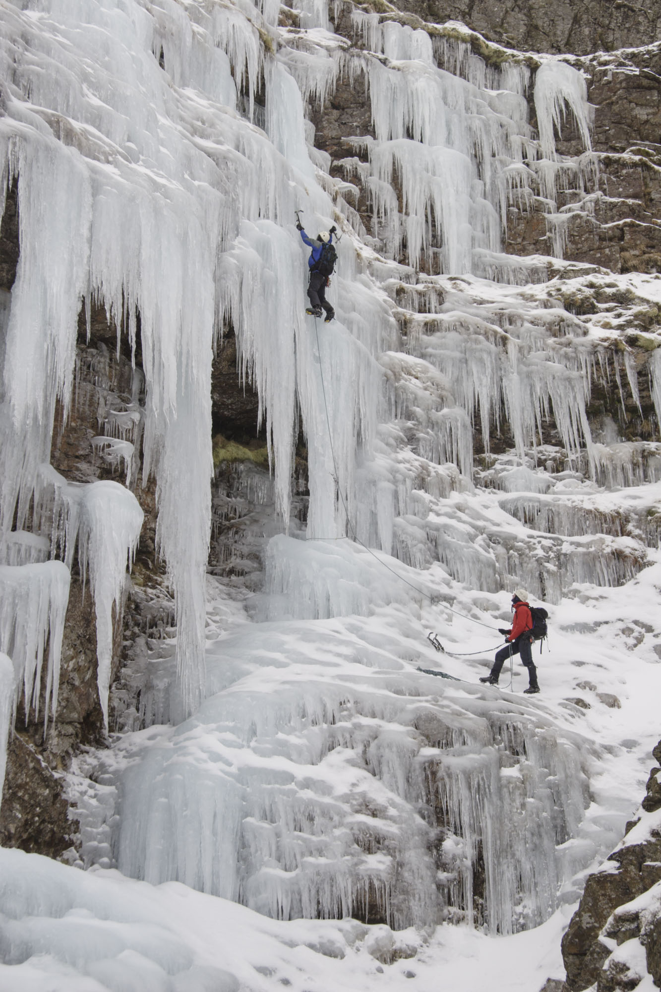 Exceptional conditions for ice climbing in the Lakes. This is Dove Crag on Grassmoor. Canon 20D, 24-105mm at 41mm, ISO 100, 1/100 sec at f/8, March 2005. © Stuart Holmes.