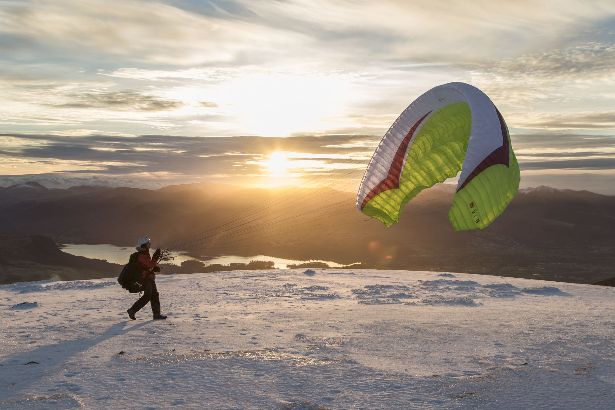 Sunset paraglider launching from Blencathra. Canon 5D MkIII, 24-105mm at 35mm, ISO 400, 1/320 sec at f/7.1, November. © Stuart Holmes.