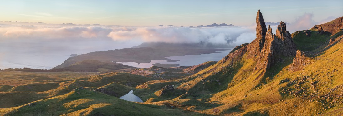 Old Man's Shroud, Old Man of Storr, Isle of Skye. Sony A7R Mark II, Canon 70-300 f/4-5.6L IS USM at 70mm (pano), ISO100, 1/15sec, f11, Tripod, October. © Richard Fox.