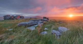 Wild Fire, Wild Tor, Dartmoor. Sony A7R, Canon 16-35 f4 at 24mm (pano), ISO100, 1/5sec, f13, Tripod, August. © Richard Fox.