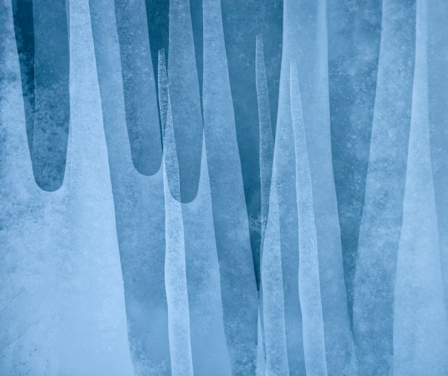 Icicles, Abisko. Nikon D800e, Nikon 70-200mm f4 at 122mm, ISO 800, 1/500s at f/7.1, handheld. Multiple exposure. March. © Lizzie Shepherd