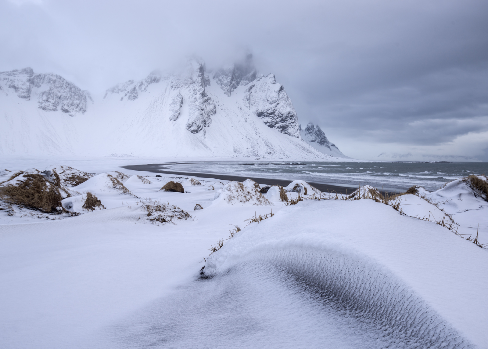 Vestrahorn snow, Sony A7R, Canon 16-35mm f/4 at 16mm, ISO 100, 1/60sec at f/8, Handheld. February. © Andrew Yu