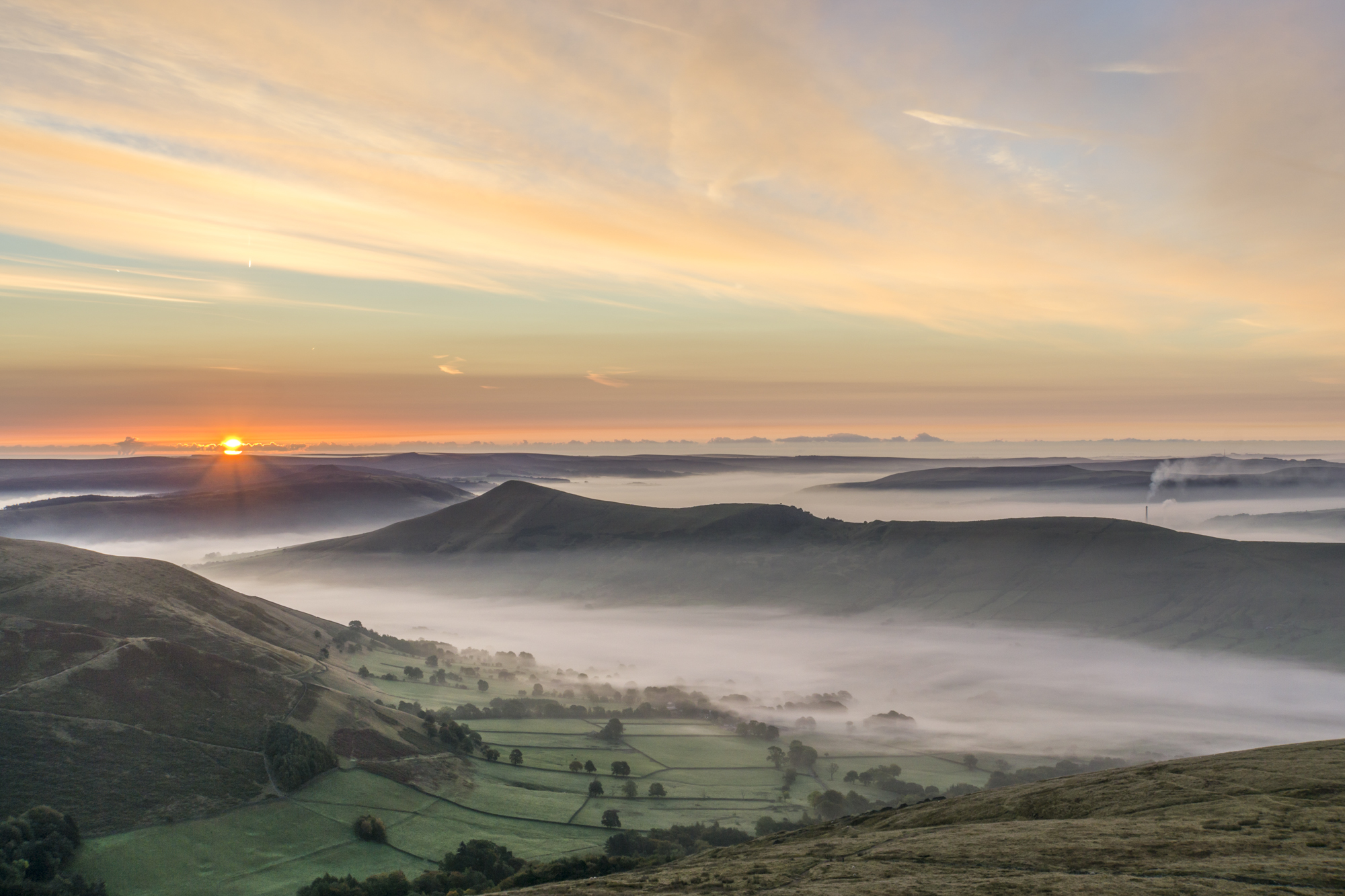 Looking down on Edale and across to the Great Ridge and Win Hill. © Mick Ryan