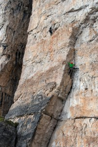 Climbers starting up the initial corner of 'Via Finlandia' on the east face of Torre Grande. Nikon D610, 24-70 at 70mm, ISO 100, 1/200s at f/7.1, August. ©James Rushforth