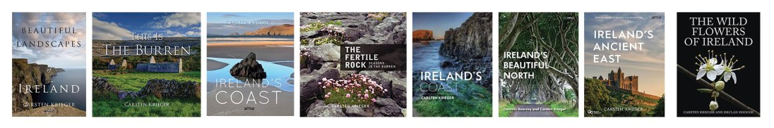 A selection of Carsten's books. Carsten is completing two fotoVUE guidebook to the West of Ireland and the Wild Atlantic Way titled, Photographing Ireland's South West and Photographing Ireland's North West.
