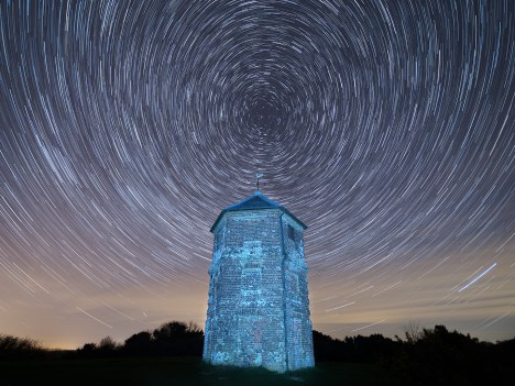 10. Pepperbox Hill at night (March) UK19-071 Star trails, Pepperbox Hill, Wiltshire