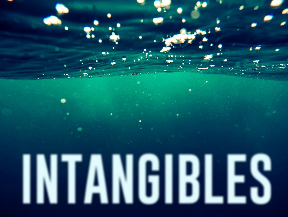 Underwater scene with the word INTANGIBLES