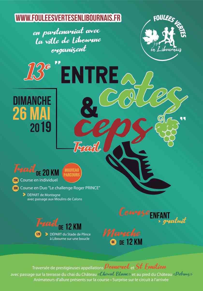 """Trail """"Entre Côtes et Ceps"""" du dimanche 26 mai 2019 - 13ème édition"""