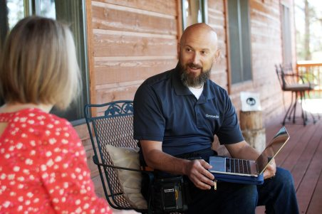 Inspection with homeowners in basement