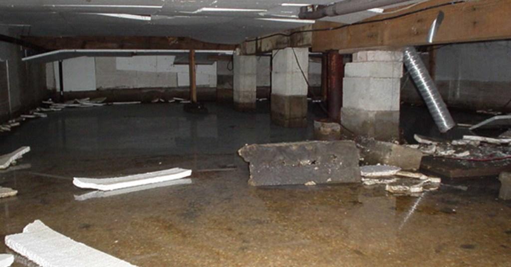 damaged flooded crawl space