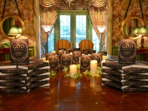 A book display of Mark Burnett and Roma Downey's new book, A Story of God and All of Us: A Novel Based on the Epic TV Mini-Series, at a preview event in Dallas (Credit: James Edward)