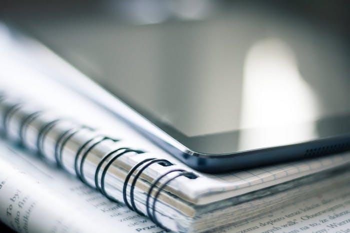 Paper, note, iPad