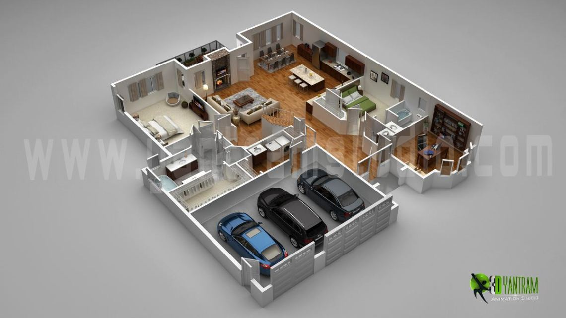 Floor Plan For 3D Modern Home With Parking Slot ...