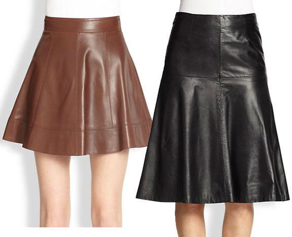 Michael Kors, Leather Flare Skirts, MILLY, Celine Leather Bell Skirt,