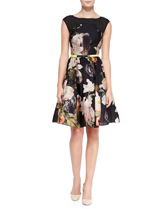 Ted Baker London Opulent Bloom Print Dress