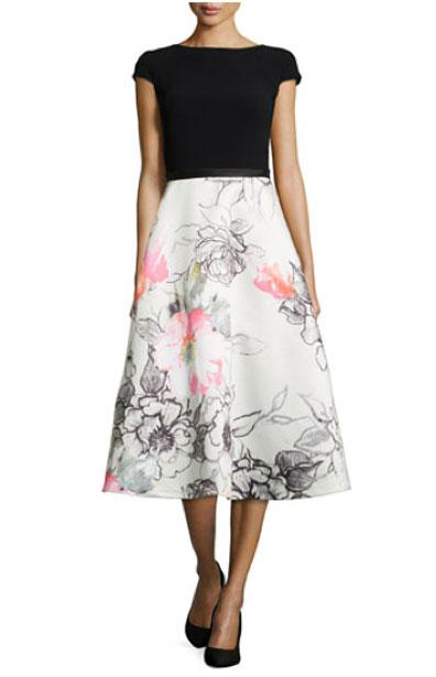 Theia. Bateau-Neck, Combo Dress w/ Floral Skirt