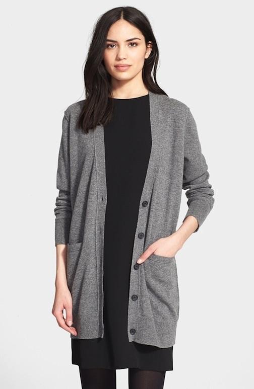 Button Cardigan, grey sweater, Vince, cashmere