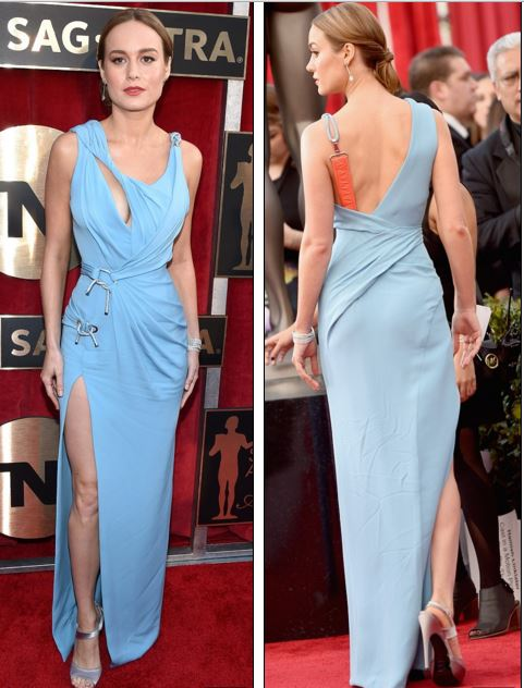 Brie Larson in Light Blue Versace Gown