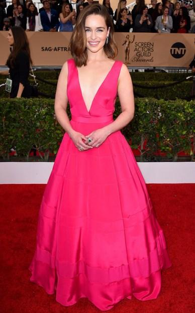 Emilia Clarke SAGs 2016 Dior Red Carpet Gown