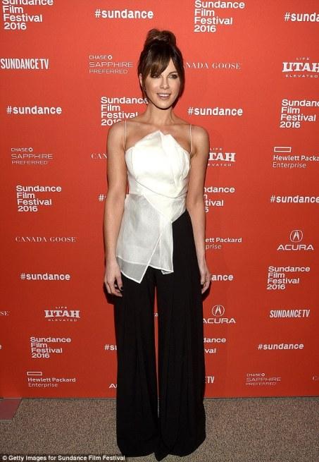 Kate Beckinsale black pants white top Sundance 2016