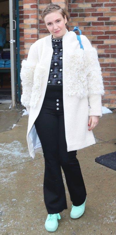 Lena Dunham in Loeffler Randall coat, J Brand jeans