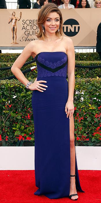 Sarah Hyland in Blue Strapless J. Mendel 2016