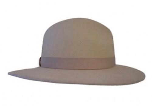 Beige Felt Fedora Hat
