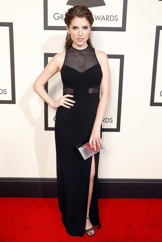 Anna Kendrick in black sheer cut outs Emanuel Ungaro gown