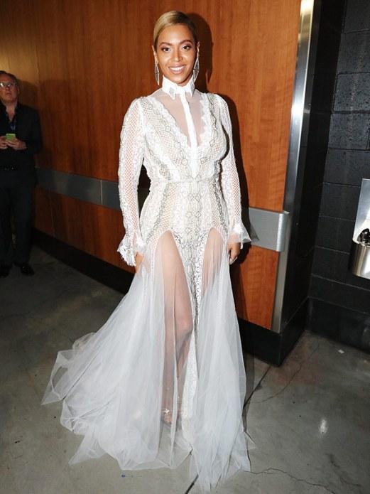Beyonce in white sheer long sleeve Inbal Dror Gown